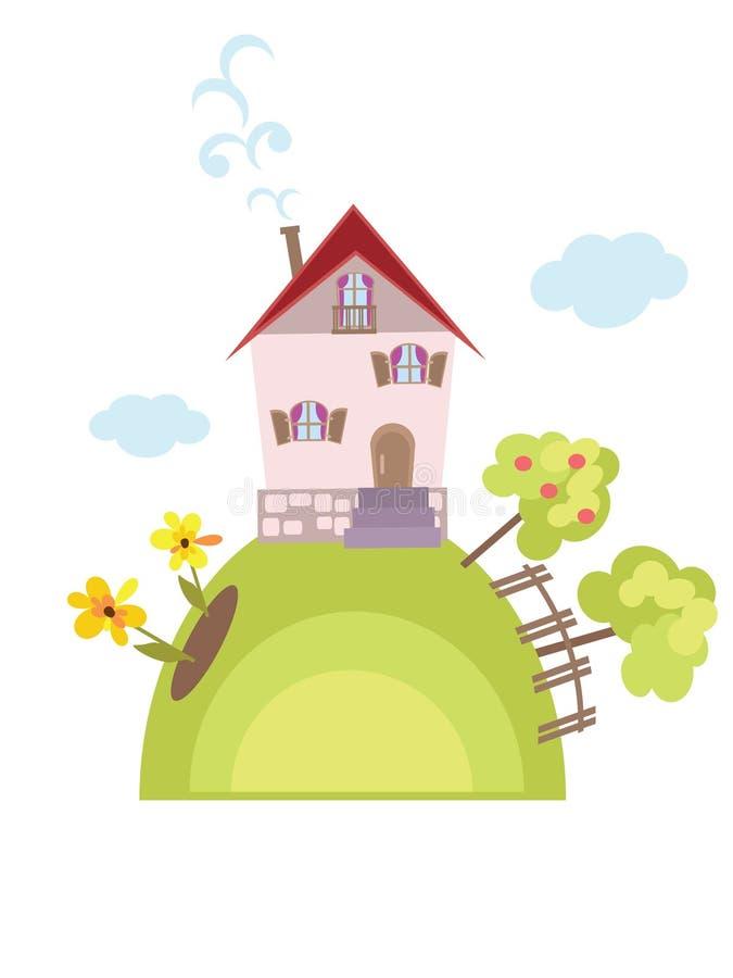 Rural landscape. With little home stock illustration