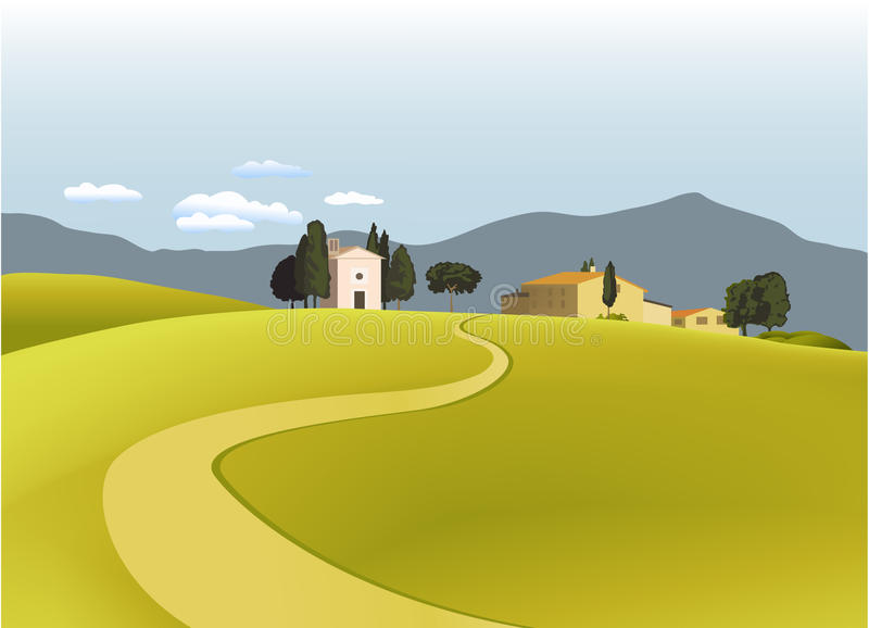 Download Rural landscape stock vector. Image of meadow, setting - 20974901