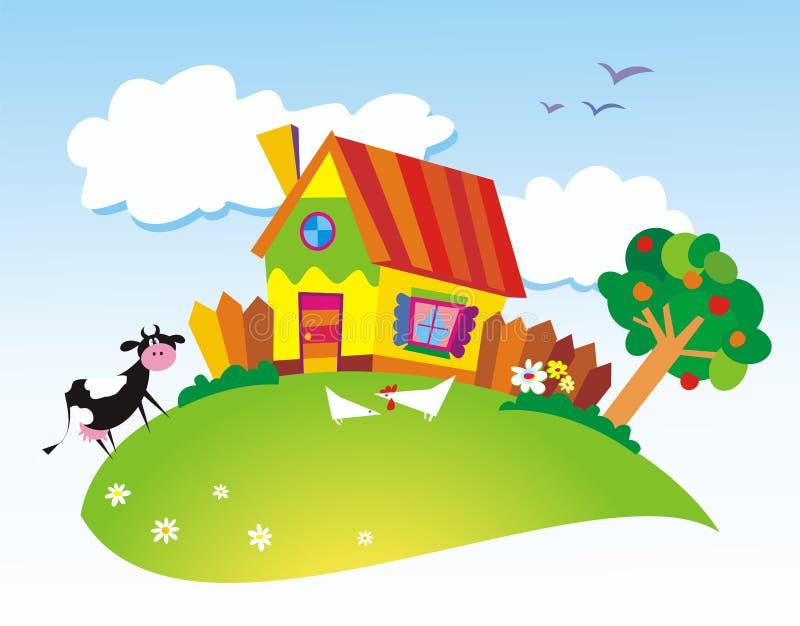 Download Rural landscape stock vector. Image of house, fence, landscape - 5768159