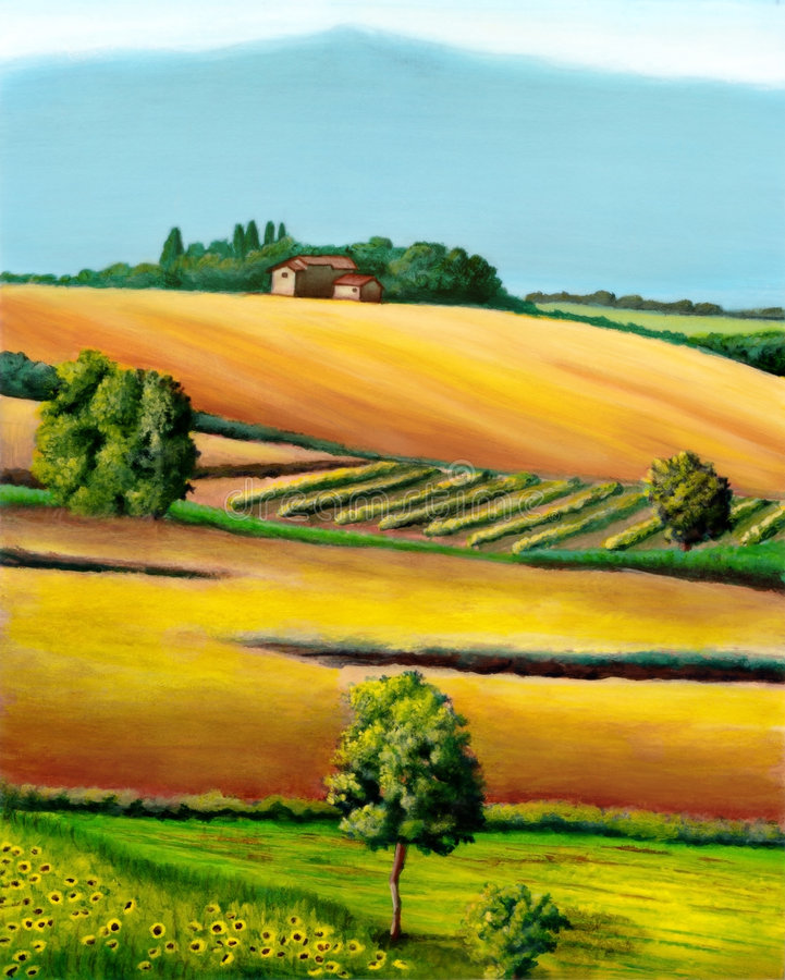 Rural landscape. Farmland in Tuscany, Italy. Original mixed media illustration