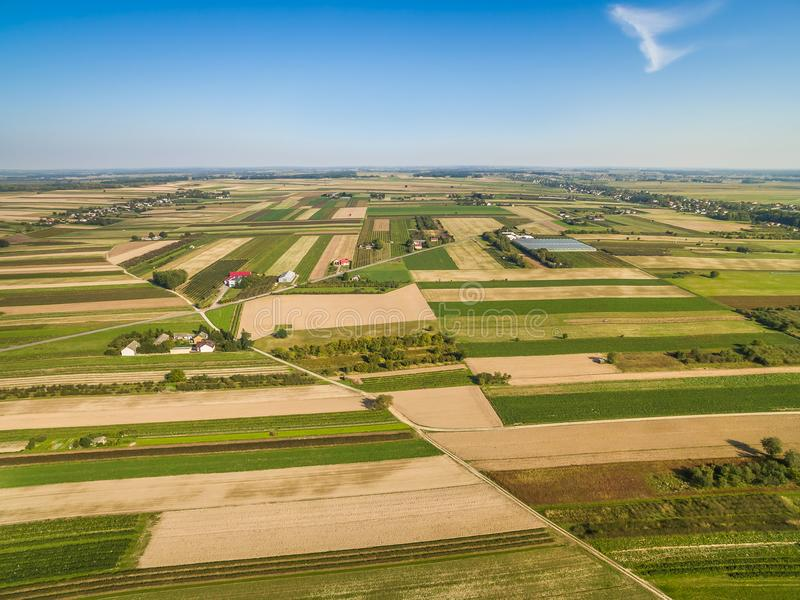 Rural landscape, aerial view. Road through the fields. Crop fields, extending to the horizon. stock photos