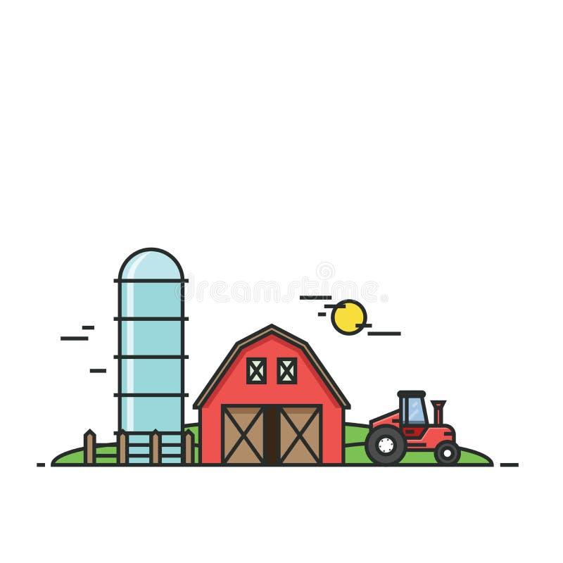 Rural landscape. Agriculture and Farming illustration. Design elements for website and print media. Vector, EPS10 royalty free illustration