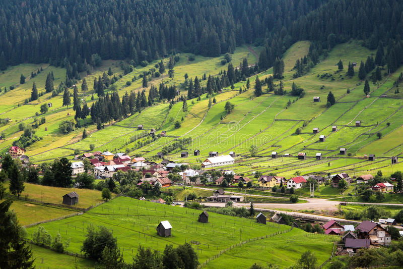 Green Valley in Rural Area of Bucovina, Romania royalty free stock photos