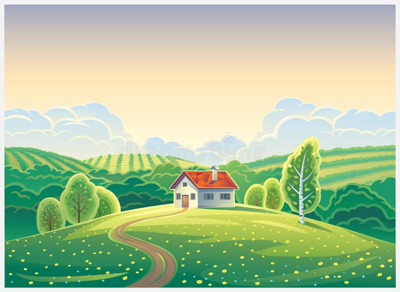 Rural landscape with a lonely house in cartoon. Rural landscape in cartoon style with a lonely house and trees on a hill lit by the sun royalty free illustration