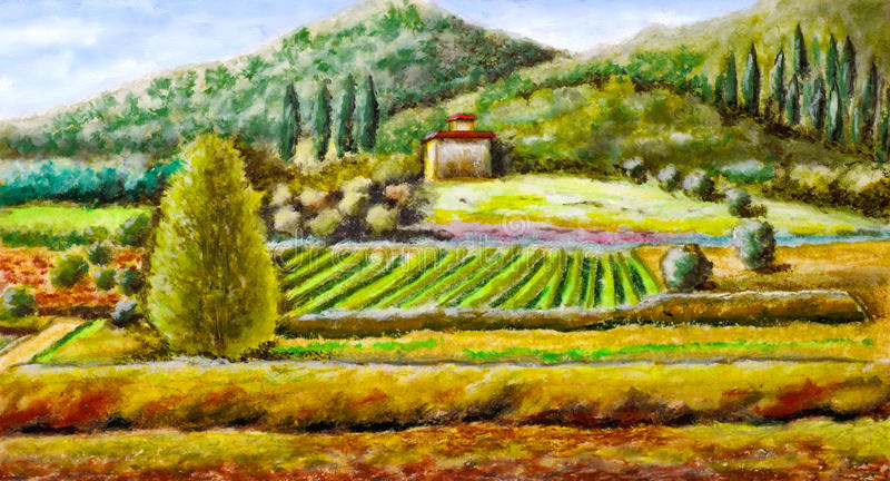 Rural landscape. From central Italy. Original hand painted illustration royalty free illustration
