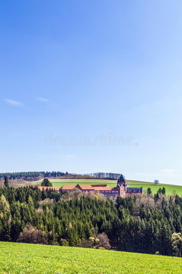 Rural landscape with church of divine word missionaries. Landscape with church of divine word missionaries royalty free stock photos