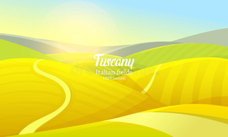 Rural landscape. Farm Agriculture. Vector illustration. Poster with meadow, Countryside, retro village for info graphic stock illustration
