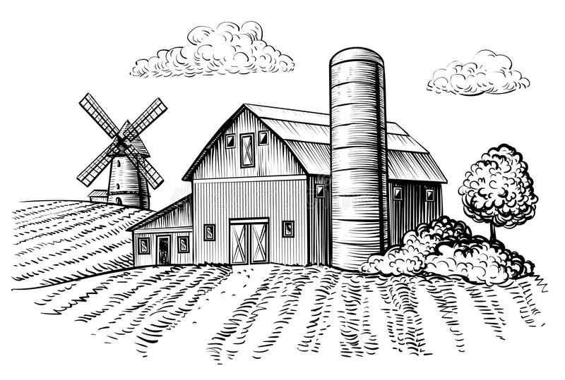 Download Rural Landscape Farm Barn And Windmill Sketch Stock Vector