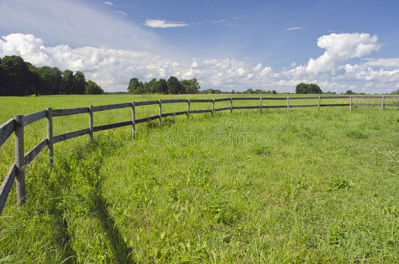 Rural landscape farmland field with wooden fence. Rural summer landscape farmland field with wooden fence stock image