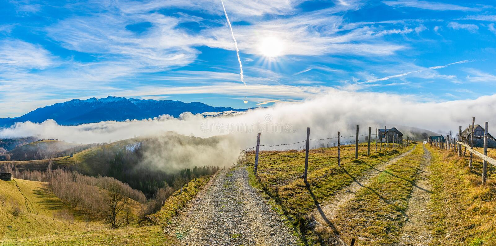 Rural landscape with fog royalty free stock images