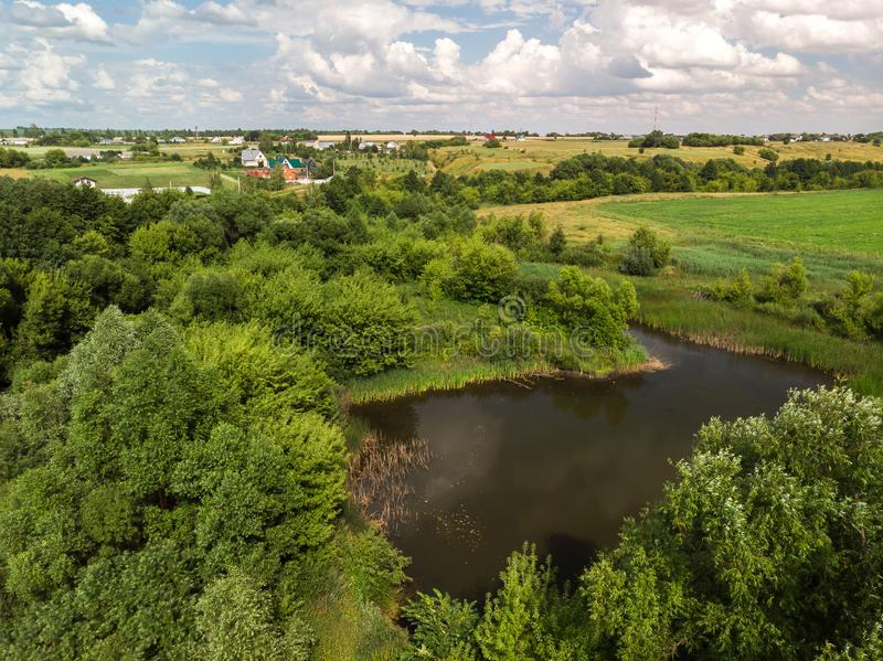 Countryside landscape with forest and ponds in Russia, top view stock photo