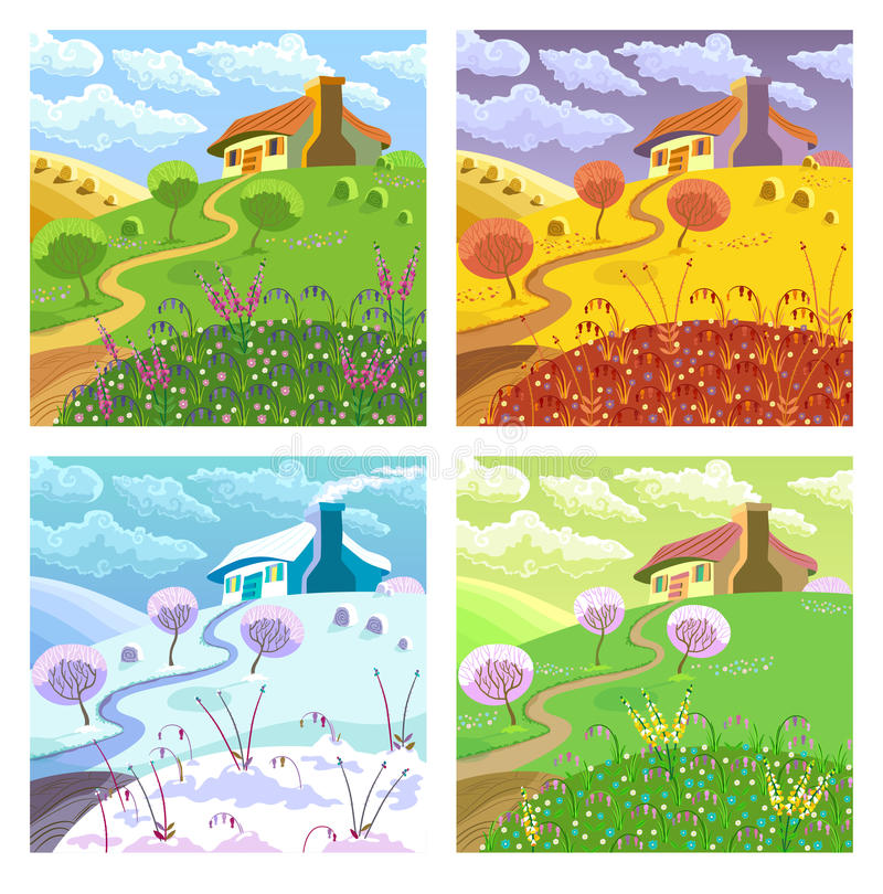 Rural Landscape Four Seasons Stock Vector Illustration Of Garden Country 51832138