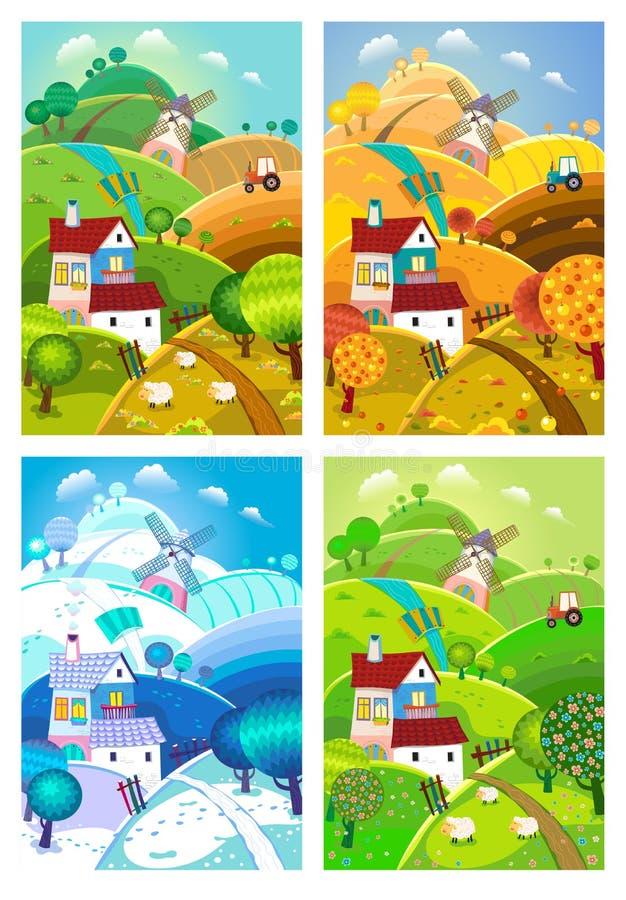Rural landscape. Four seasons. stock illustration