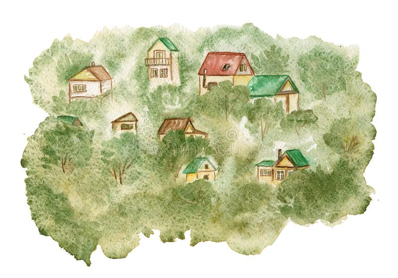 Rural landscape with houses in green trees. Watercolor. Rural landscape with houses in green trees. Watercolor painting royalty free illustration