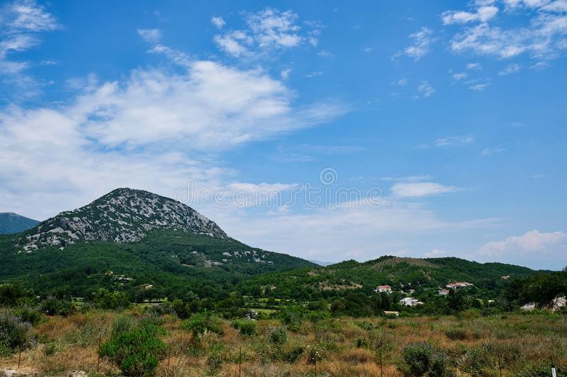 Rural Landscape With Mountains, Albania royalty free stock image