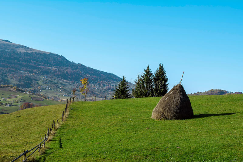 Rural landscape in the mountains stock images