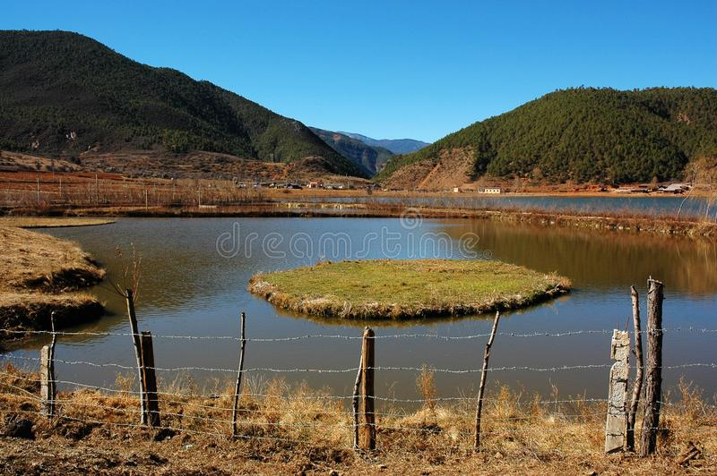 Rural landscape nearby lugu lake stock photography