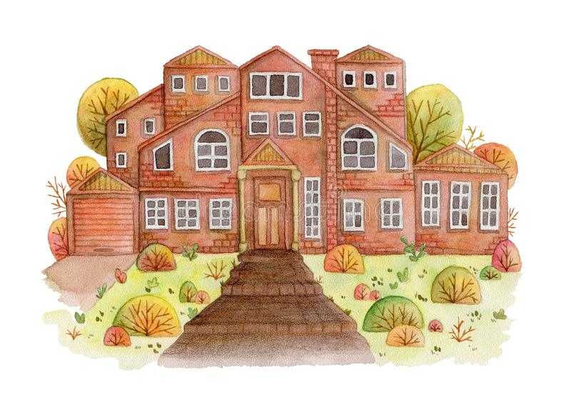 Rural landscape with old family farm house, lawn, trees and bushes. vector illustration