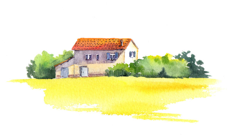 Rural landscape with old house and yellow field, watercolor royalty free illustration