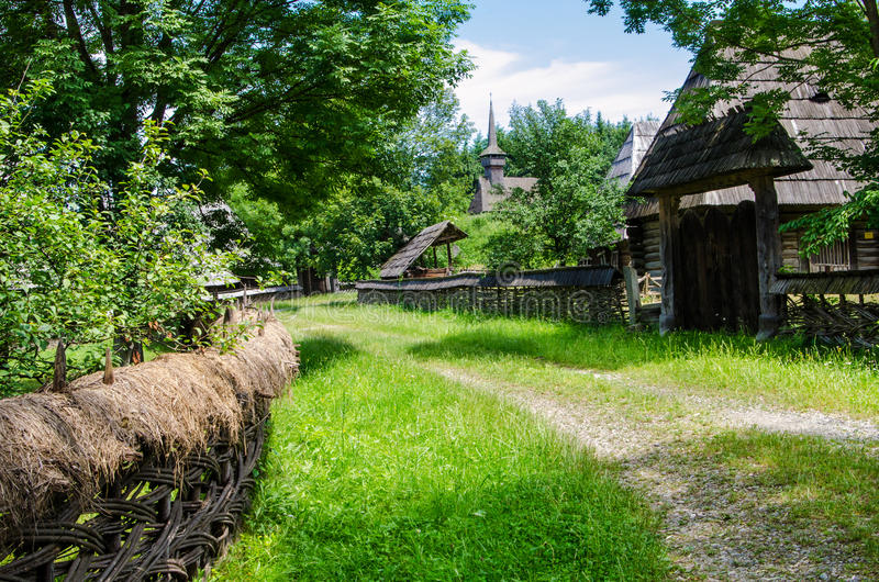 Rural landscape of an old vilage in Maramures stock photo