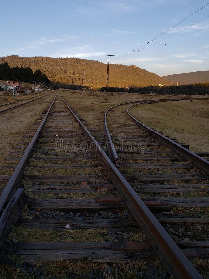 Rural landscape with railway tracks in Toluca, Mexico at sunset. Rural landscape railway tracks toluca mexico sunset journey line outdoor travel transportation stock images