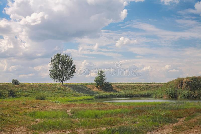 Rural landscape, river. Coast against the sky with clouds stock photography