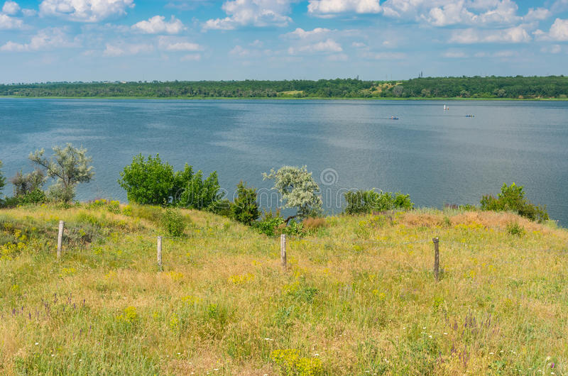 Rural landscape with river Dnepr at summer season. Central Ukraine near Dnepropetrovsk city royalty free stock photos