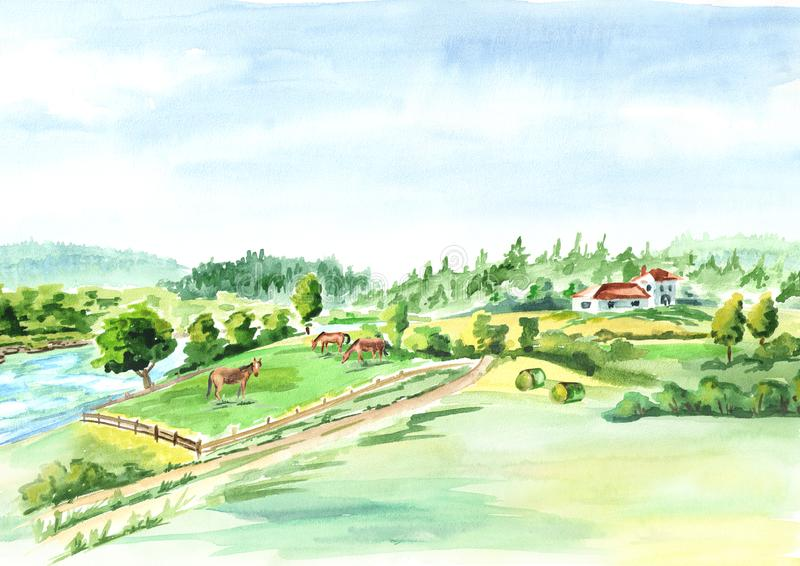 Rural landscape with river and farm. Watercolor hand drawn background. vector illustration