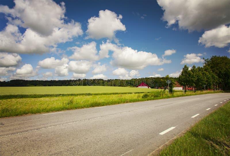 Rural landscape road. Image of a rural landscape road. Scania, Sweden stock image