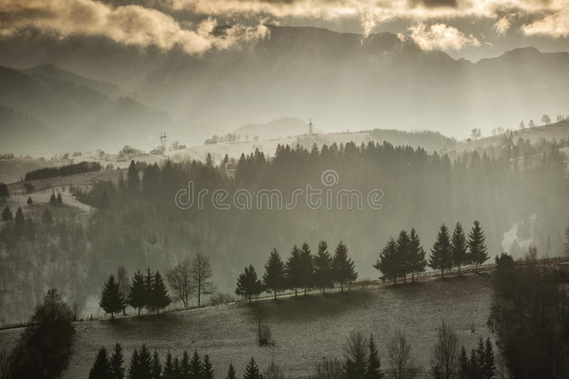 Rural landscape from Romania in Carpathian MountainsRural lands royalty free stock photos