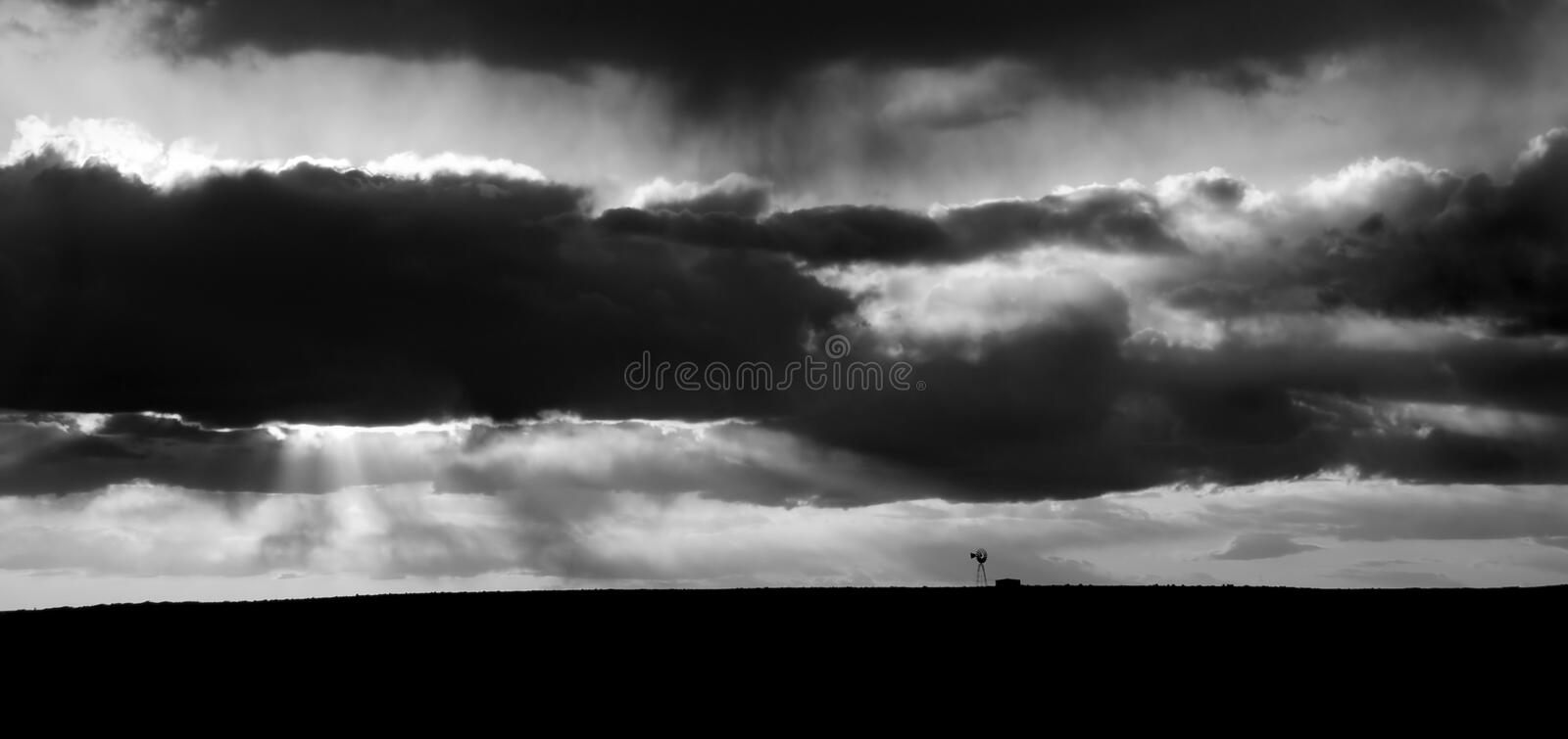 Rural Landscape Showing A Windmill After A Storm Royalty Free Stock Photo