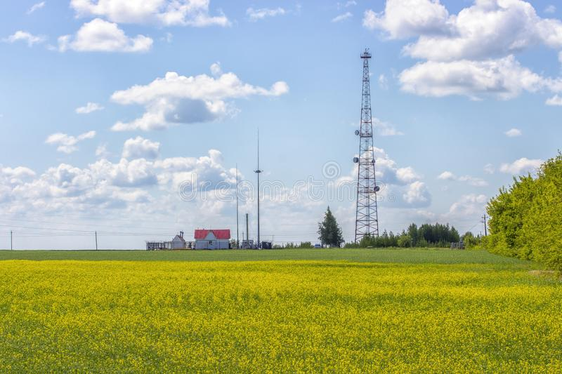 Rural landscape. Telecommunication tower on a yellow rape field, a small country house with a red roof. Blue sky with clouds stock photo