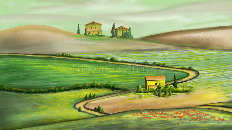 Rural landscape stock illustration
