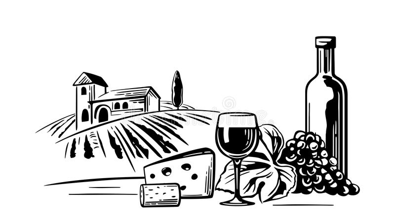 Rural landscape with villa, vineyard fields and hills. Bottle, glass, cork, bunch of grapes, cheese. Black and white vintage illustration for label, poster stock illustration