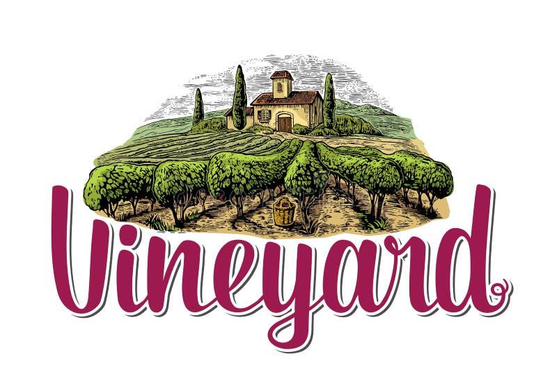 Rural landscape with villa, vineyard fields and hills. Colorful white drawn vintage vector illustration for label, poster stock illustration