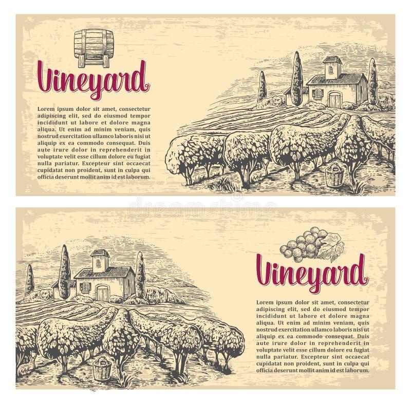 Rural landscape with villa, vineyard fields and hills. Vector engraving drawn vintage illustration. Old paper beige texture background. For label, poster stock illustration