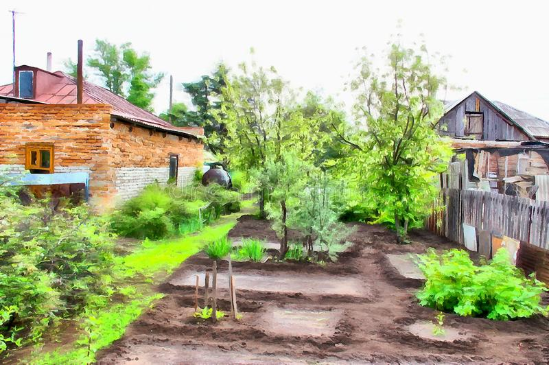 Rural landscape with village garden watercolor illustration. Landscape with village garden in the outback, drawing watercolor illustration royalty free stock photography