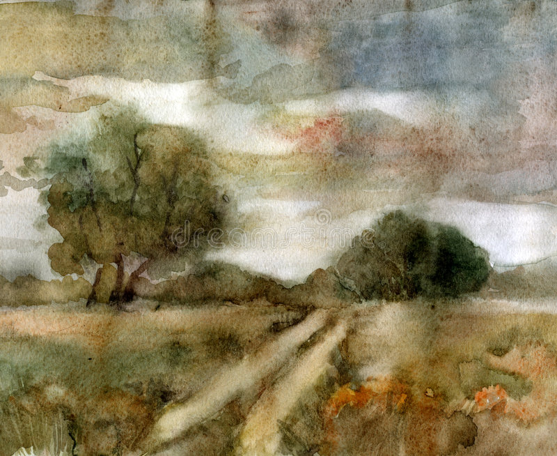Rural landscape. Watercolor. stock illustration
