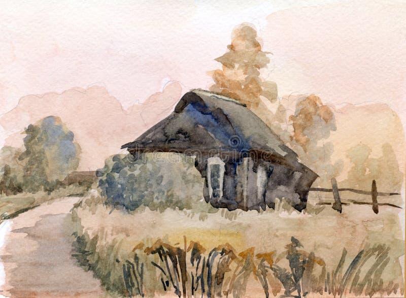 Rural Landscape. Watercolor Stock Photo