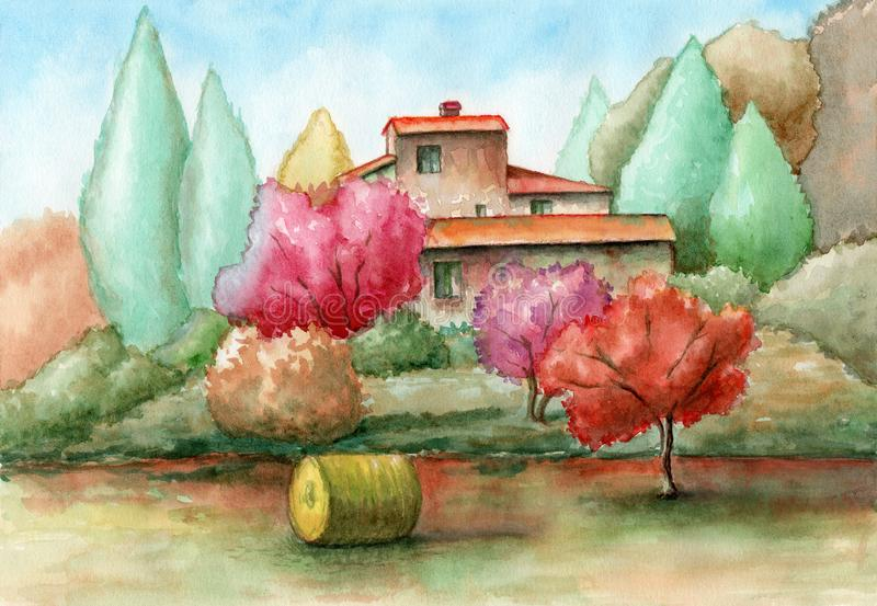 Rural landscape watercolor stock images