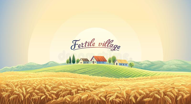 Rural landscape with wheat field and village. Rural landscape with a wheat field and a village on a hill. Vector illustration stock illustration