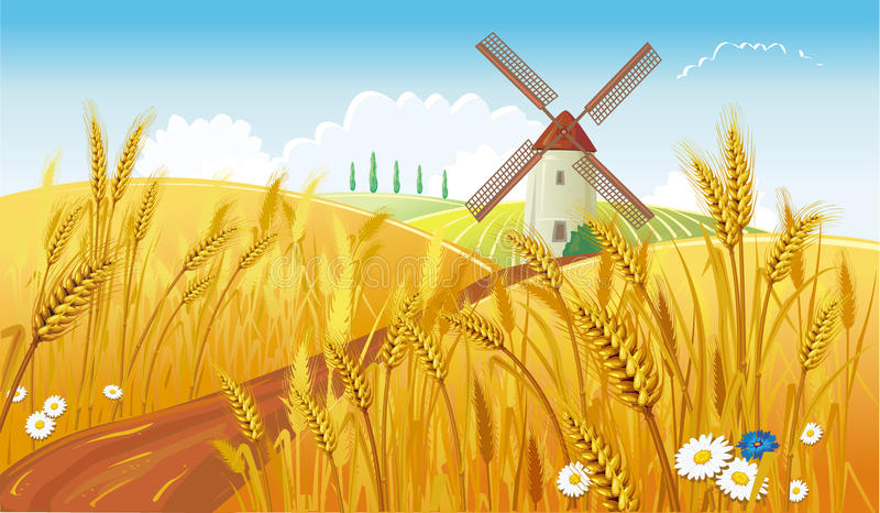 Rural landscape with windmill stock illustration