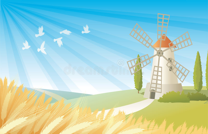 Rural landscape with windmill stock images