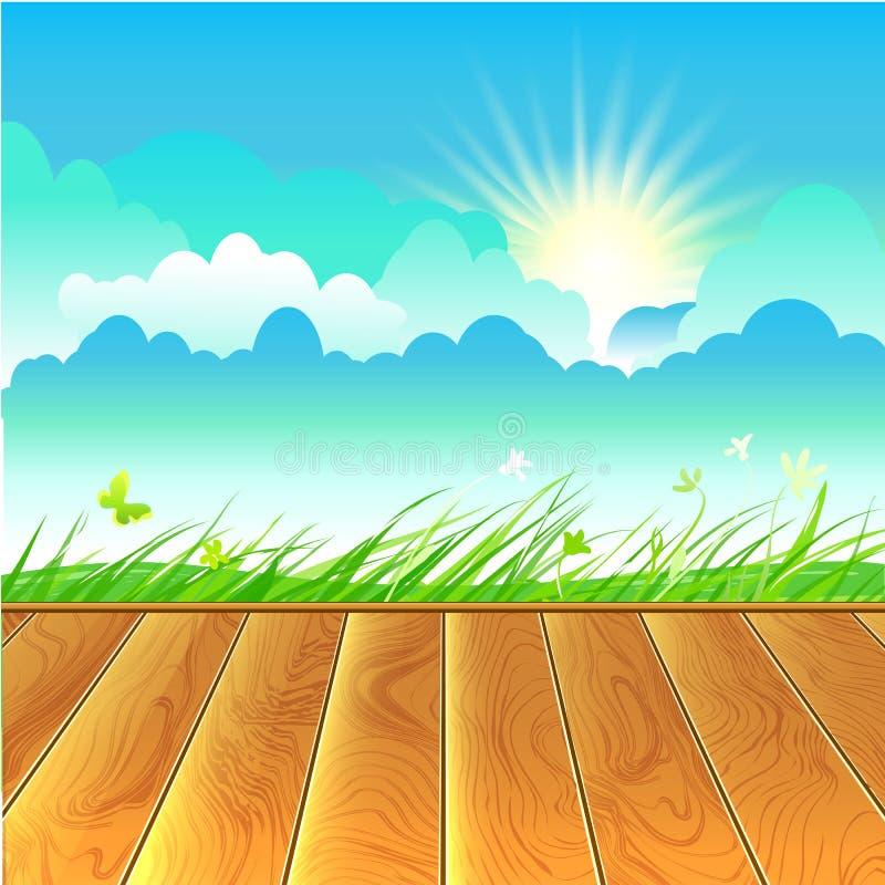 Rural landscape with wooden floor. Rural landscape. Scyline, grass and wooden floor. Eco tourism card. Sunny sky vector background stock illustration
