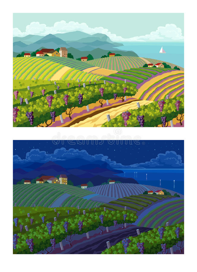 Rural landscapes. Day and night. royalty free illustration