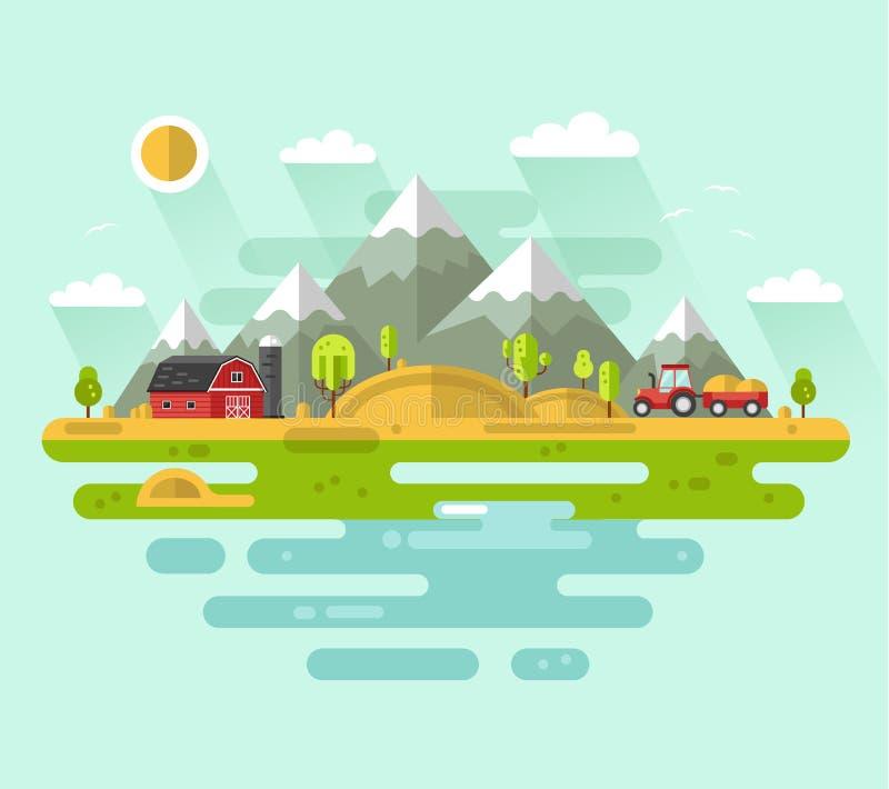 Rural landscapes. Flat design vector rural landscape illustration with farm building, barn, tractor, field, mountains, waterside, river. Farming, agricultural vector illustration