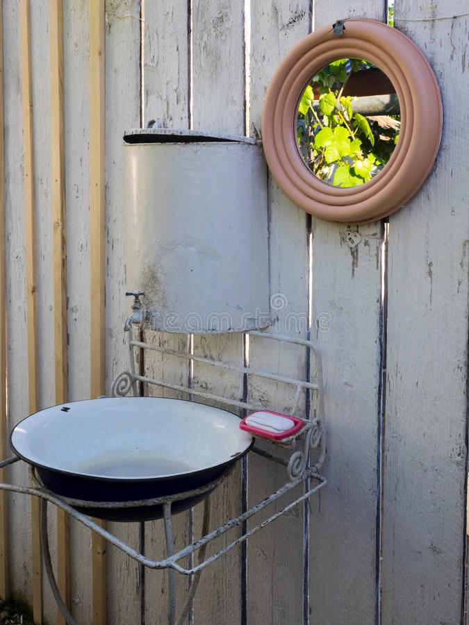 Rural lavatory. This type of washbasin is often used in rural areas without access to tap water royalty free stock photography