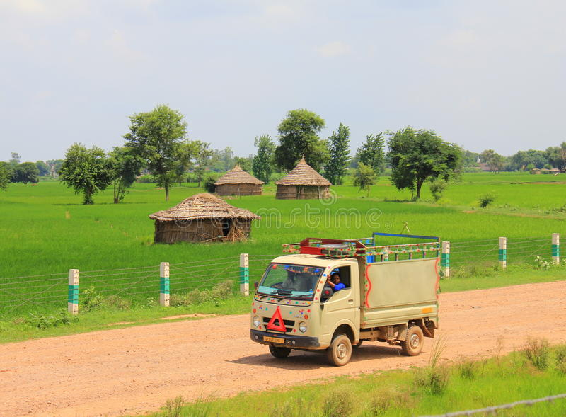 Rural life in India: wheat fields and small truck royalty free stock photo