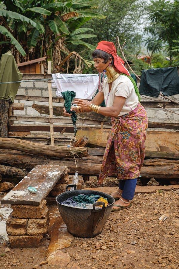 Rural life of Padaung (Karen) hill tribe, Myanmar royalty free stock photos