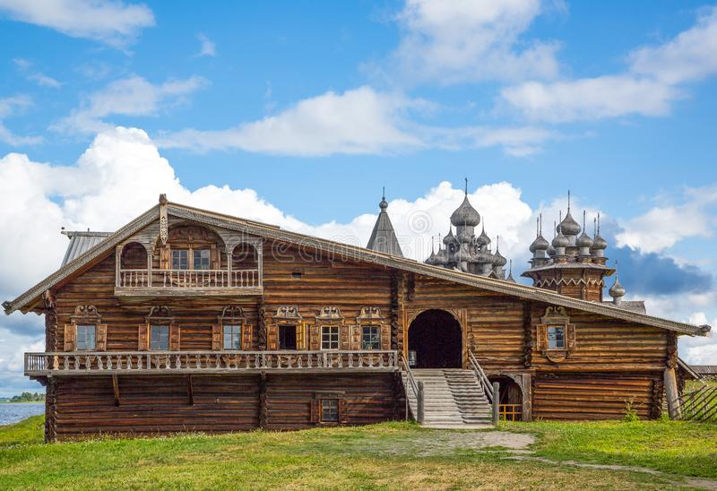 The rural life and the religious monuments of Karelia region. Russia, Karelia region, Kishi island, a wooden country house of the village stock images